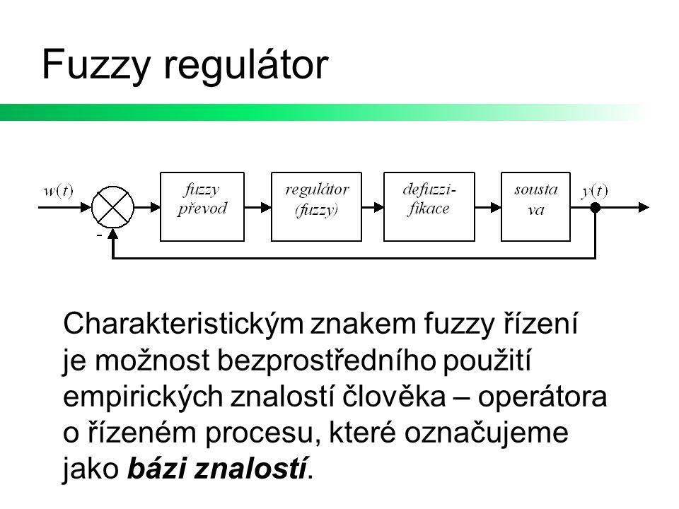 Fuzzy regulátor Charakteristickým znakem fuzzy řízení je možnost bezprostředního použití empirických znalostí člověka – operátora o řízeném procesu, k