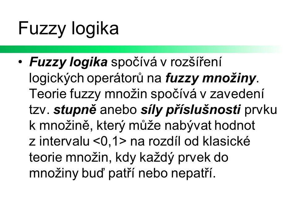Fuzzy logika Fuzzy logika spočívá v rozšíření logických operátorů na fuzzy množiny. Teorie fuzzy množin spočívá v zavedení tzv. stupně anebo síly přís