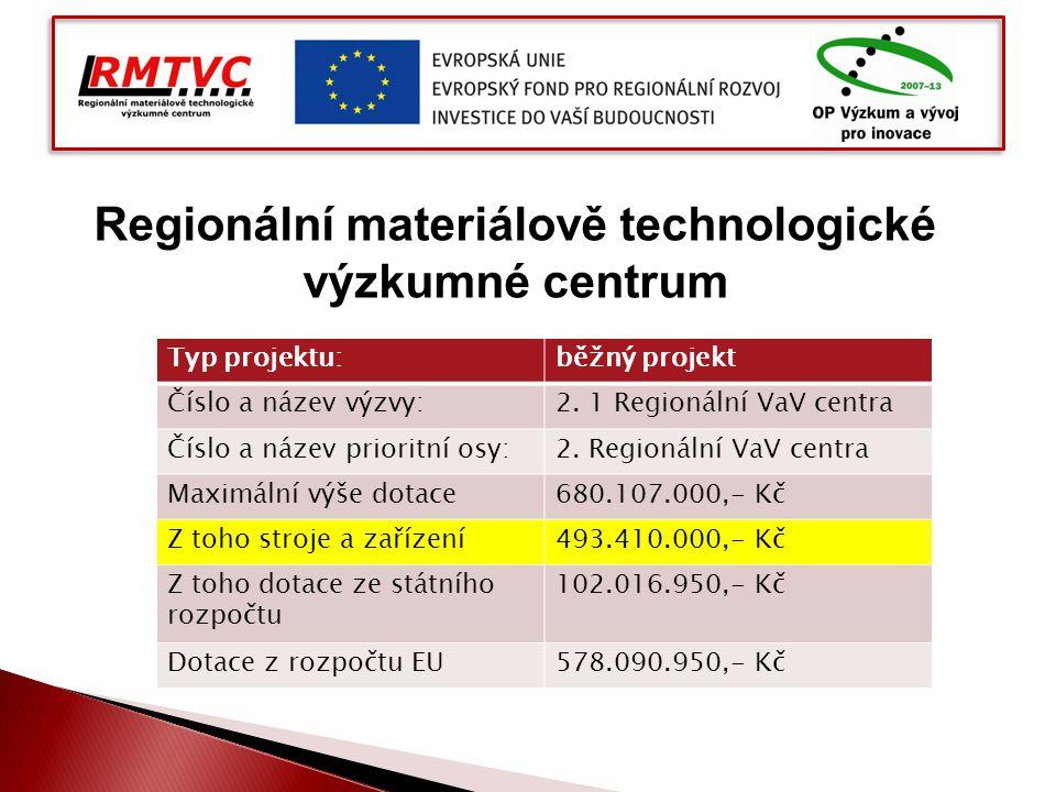 Regionální materiálově technologické výzkumné centrum Typ projektu:běžný projekt Číslo a název výzvy:2. 1 Regionální VaV centra Číslo a název prioritn