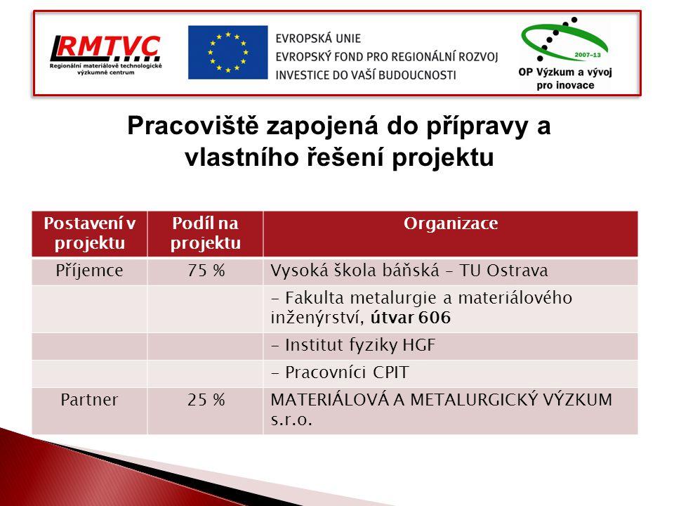 Postavení v projektu Podíl na projektu Organizace Příjemce75 %Vysoká škola báňská – TU Ostrava - Fakulta metalurgie a materiálového inženýrství, útvar