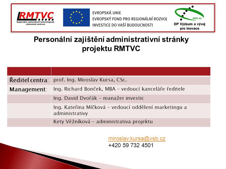 Ředitel centra: prof. Ing. Miroslav Kursa, CSc. Management: Ing. Richard Bonček, MBA – vedoucí kanceláře ředitele Ing. David Dvořák - manažer investic