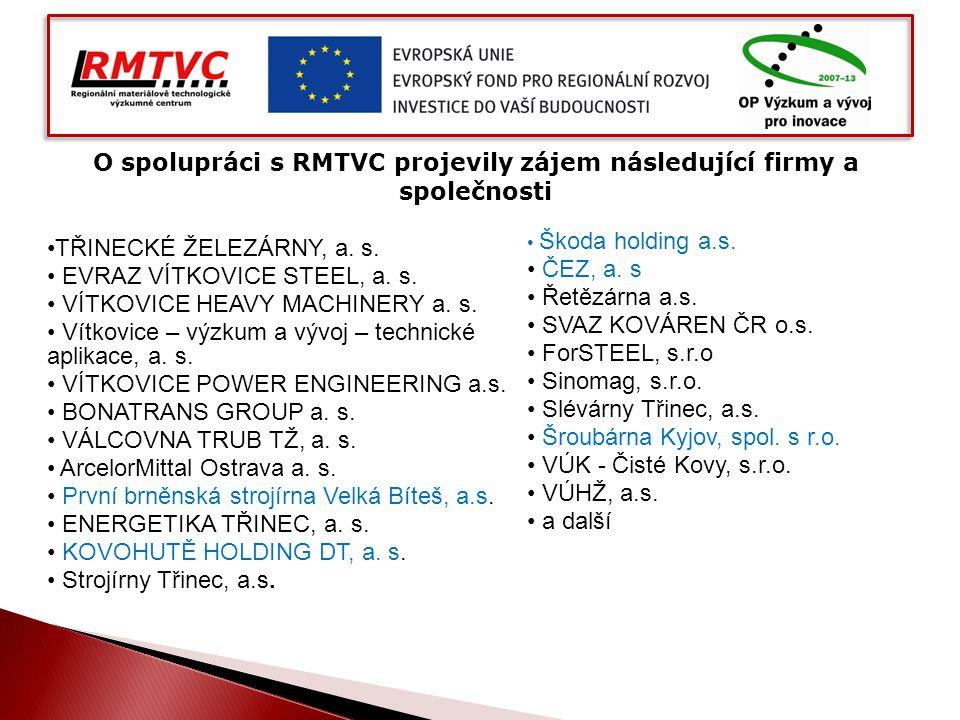 O spolupráci s RMTVC projevily zájem následující firmy a společnosti TŘINECKÉ ŽELEZÁRNY, a. s. EVRAZ VÍTKOVICE STEEL, a. s. VÍTKOVICE HEAVY MACHINERY