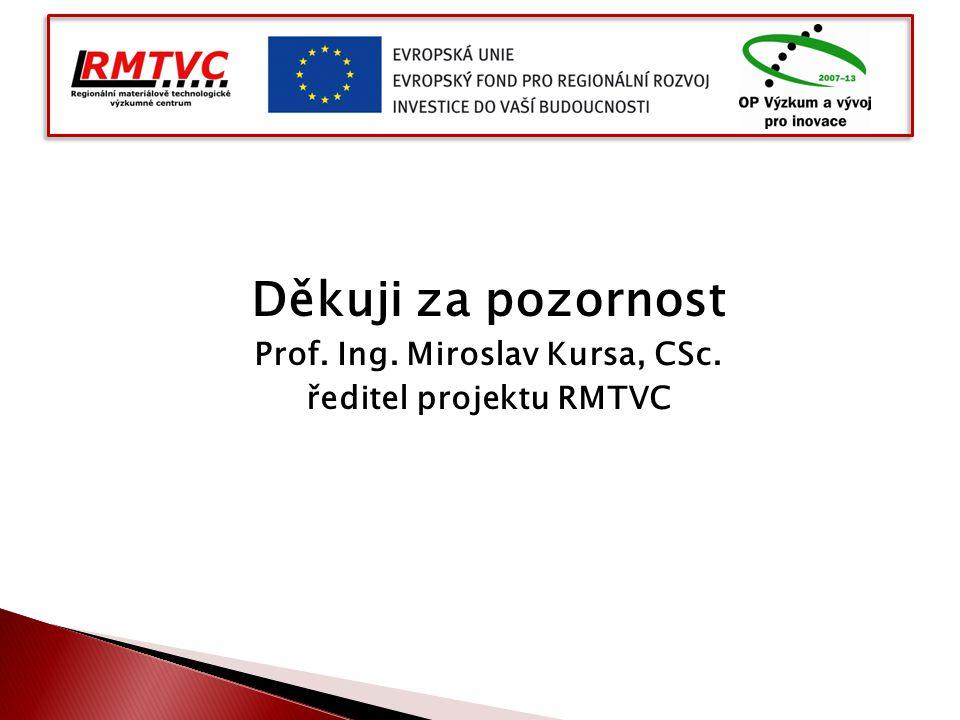 Děkuji za pozornost Prof. Ing. Miroslav Kursa, CSc. ředitel projektu RMTVC