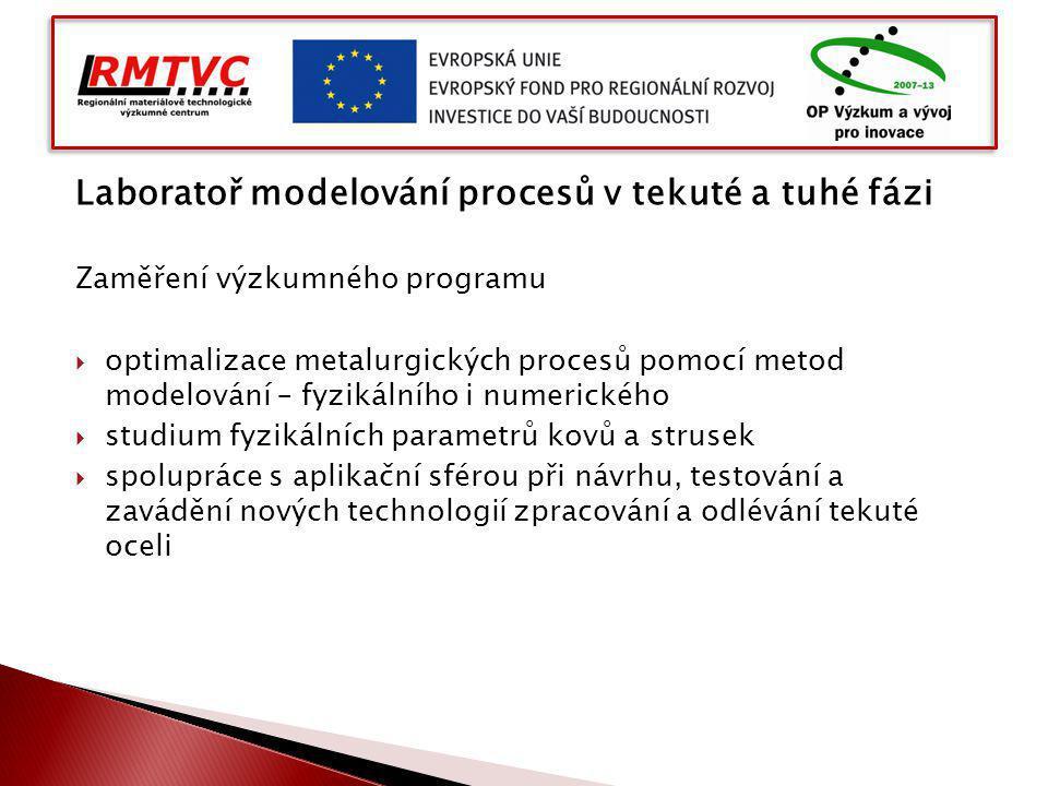 Laboratoř modelování procesů v tekuté a tuhé fázi Zaměření výzkumného programu  optimalizace metalurgických procesů pomocí metod modelování – fyzikál