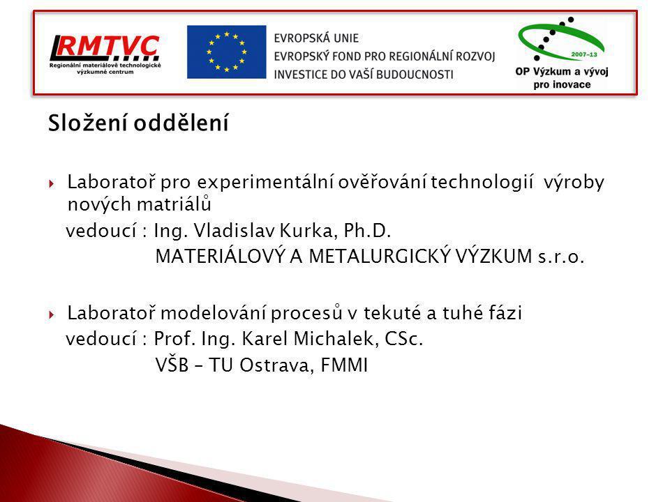 Složení oddělení  Laboratoř pro experimentální ověřování technologií výroby nových matriálů vedoucí : Ing. Vladislav Kurka, Ph.D. MATERIÁLOVÝ A METAL