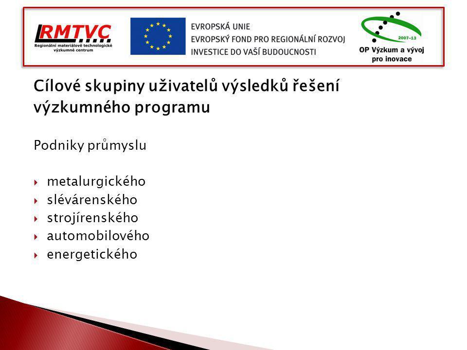 Cílové skupiny uživatelů výsledků řešení výzkumného programu Podniky průmyslu  metalurgického  slévárenského  strojírenského  automobilového  ene