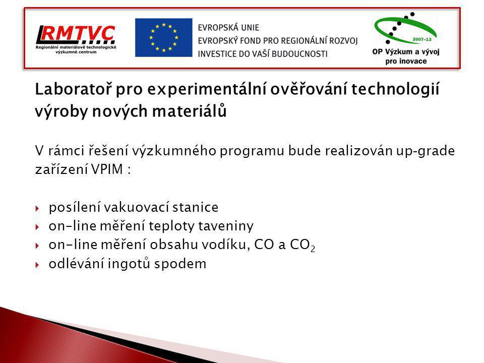 Laboratoř pro experimentální ověřování technologií výroby nových materiálů V rámci řešení výzkumného programu bude realizován up - grade zařízení VPIM