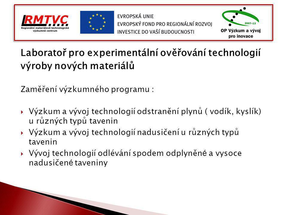 Laboratoř pro experimentální ověřování technologií výroby nových materiálů Zaměření výzkumného programu :  Výzkum a vývoj technologií odstranění plyn