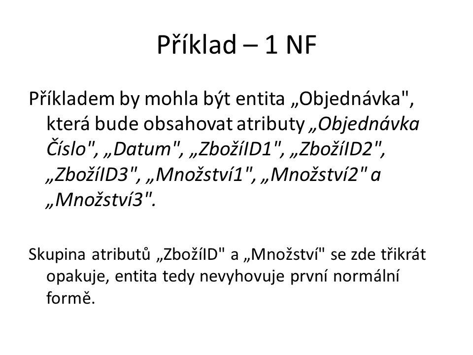 """Příklad – 1 NF Příkladem by mohla být entita """"Objednávka"""