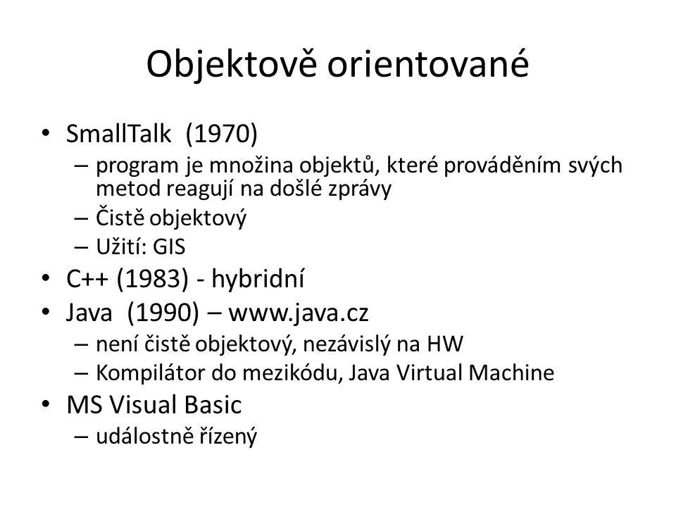 Objektově orientované SmallTalk (1970) – program je množina objektů, které prováděním svých metod reagují na došlé zprávy – Čistě objektový – Užití: G