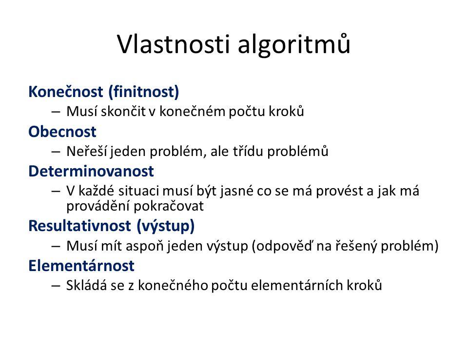 Vlastnosti algoritmů Konečnost (finitnost) – Musí skončit v konečném počtu kroků Obecnost – Neřeší jeden problém, ale třídu problémů Determinovanost –