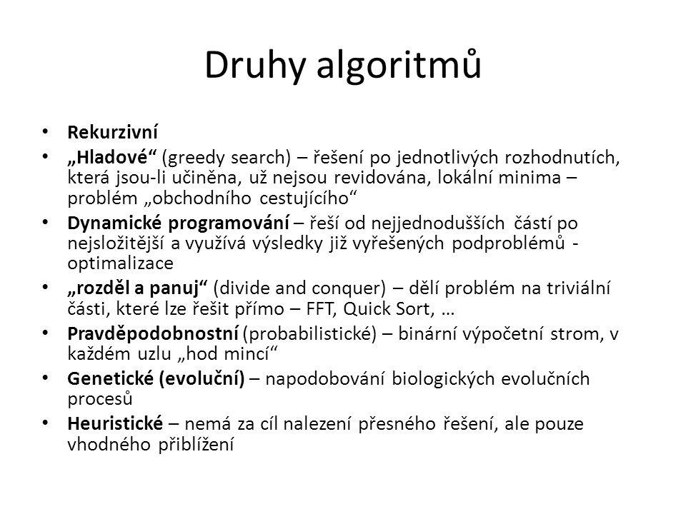 """Druhy algoritmů Rekurzivní """"Hladové"""" (greedy search) – řešení po jednotlivých rozhodnutích, která jsou-li učiněna, už nejsou revidována, lokální minim"""