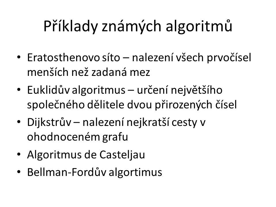 Příklady známých algoritmů Eratosthenovo síto – nalezení všech prvočísel menších než zadaná mez Euklidův algoritmus – určení největšího společného děl
