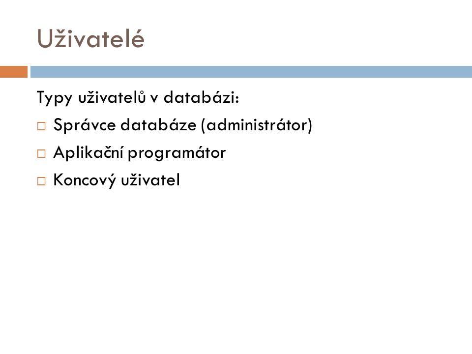 Uživatelé Typy uživatelů v databázi:  Správce databáze (administrátor)  Aplikační programátor  Koncový uživatel