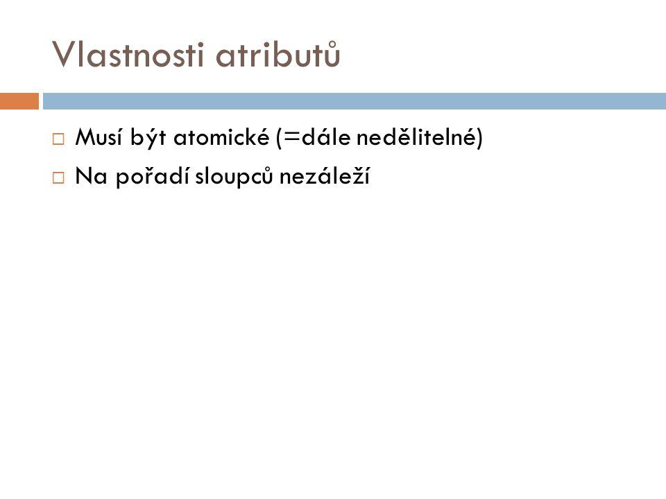 Vlastnosti atributů  Musí být atomické (=dále nedělitelné)  Na pořadí sloupců nezáleží