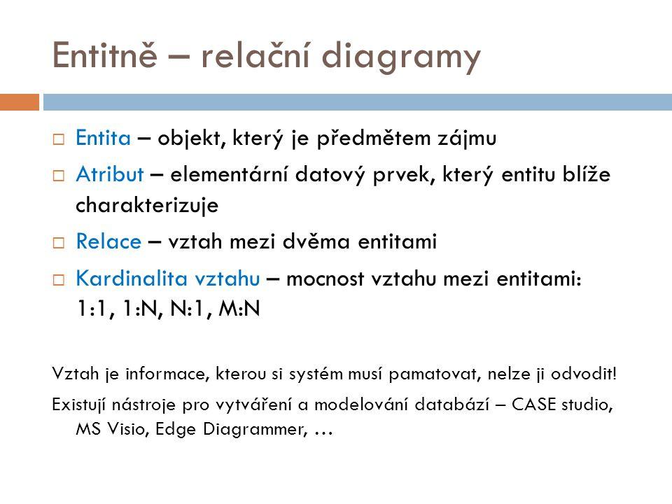 Entitně – relační diagramy  Entita – objekt, který je předmětem zájmu  Atribut – elementární datový prvek, který entitu blíže charakterizuje  Relac