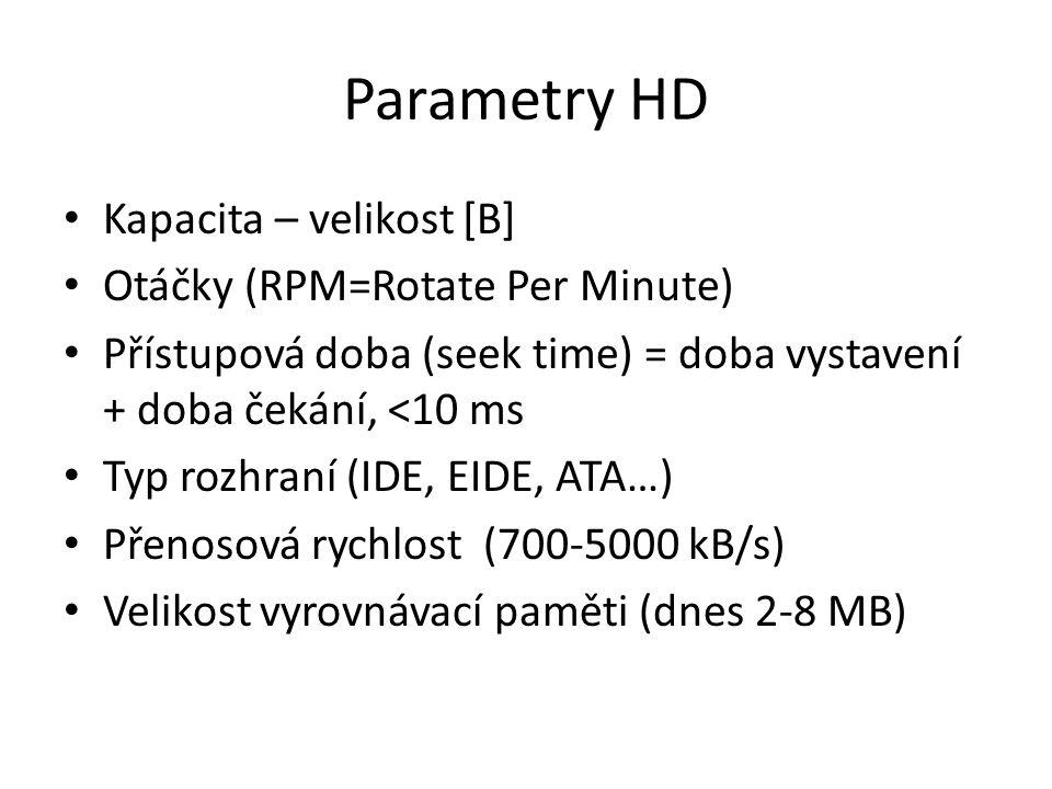 Parametry HD Kapacita – velikost [B] Otáčky (RPM=Rotate Per Minute) Přístupová doba (seek time) = doba vystavení + doba čekání, <10 ms Typ rozhraní (IDE, EIDE, ATA…) Přenosová rychlost (700-5000 kB/s) Velikost vyrovnávací paměti (dnes 2-8 MB)