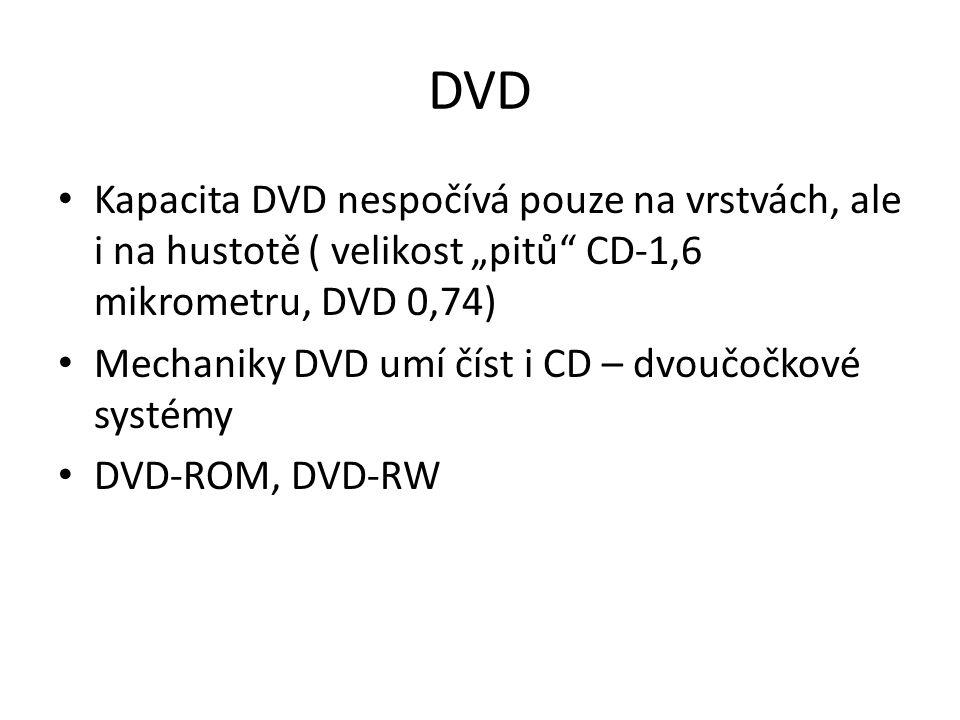 """DVD Kapacita DVD nespočívá pouze na vrstvách, ale i na hustotě ( velikost """"pitů CD-1,6 mikrometru, DVD 0,74) Mechaniky DVD umí číst i CD – dvoučočkové systémy DVD-ROM, DVD-RW"""