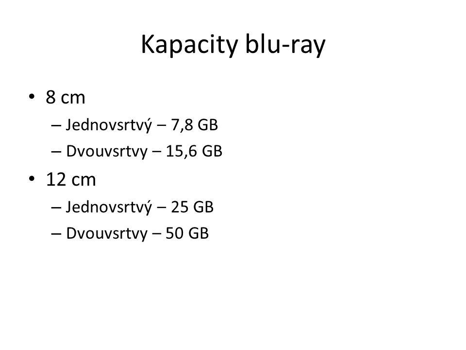 Kapacity blu-ray 8 cm – Jednovsrtvý – 7,8 GB – Dvouvsrtvy – 15,6 GB 12 cm – Jednovsrtvý – 25 GB – Dvouvsrtvy – 50 GB