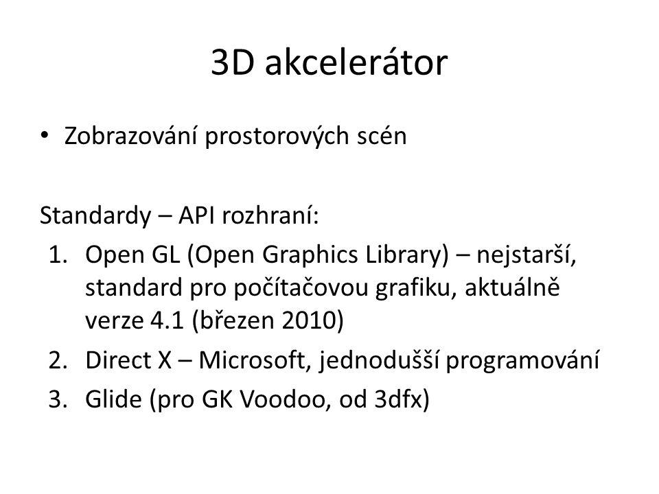 3D akcelerátor Zobrazování prostorových scén Standardy – API rozhraní: 1.Open GL (Open Graphics Library) – nejstarší, standard pro počítačovou grafiku, aktuálně verze 4.1 (březen 2010) 2.Direct X – Microsoft, jednodušší programování 3.Glide (pro GK Voodoo, od 3dfx)