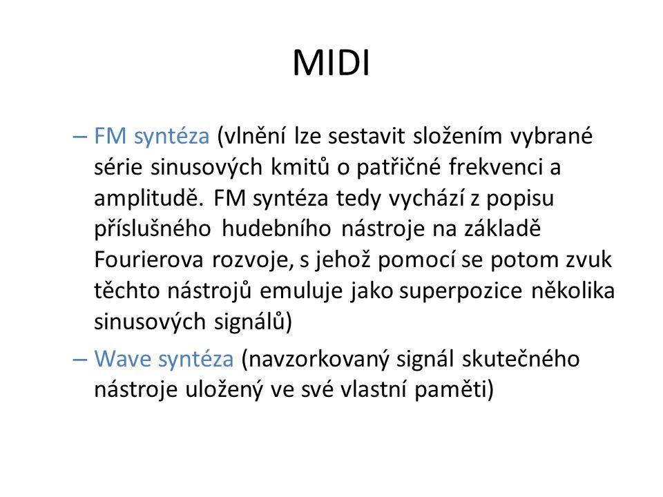 MIDI – FM syntéza (vlnění lze sestavit složením vybrané série sinusových kmitů o patřičné frekvenci a amplitudě.