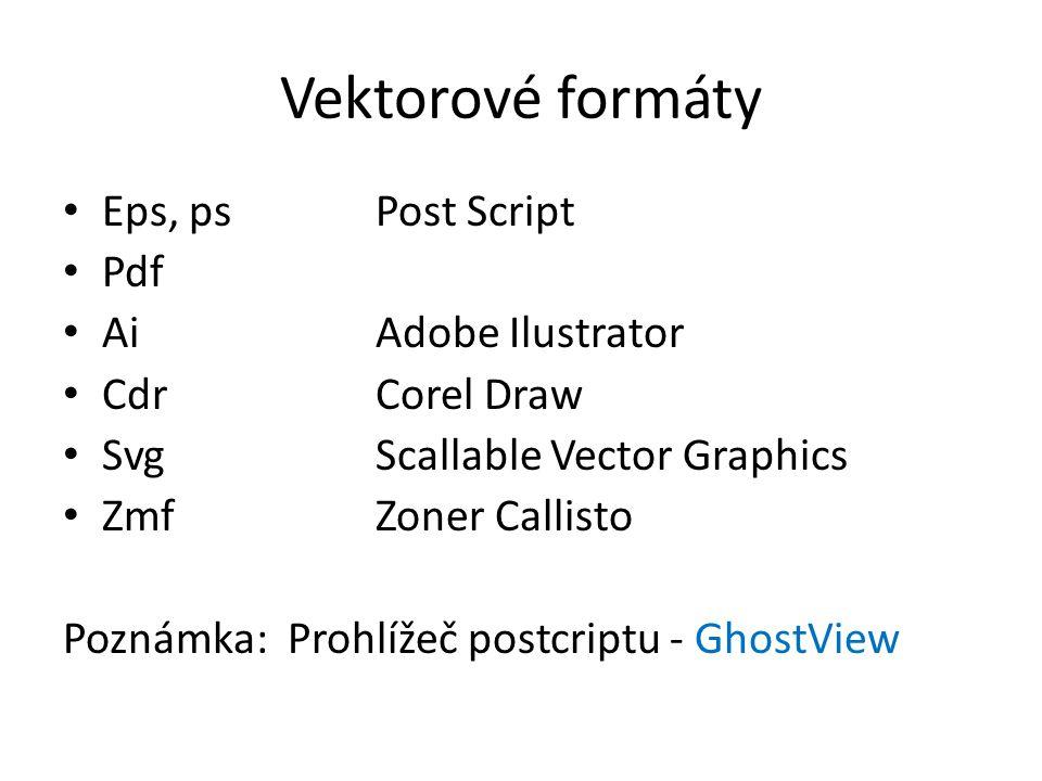 Vektorové formáty Eps, psPost Script Pdf AiAdobe Ilustrator Cdr Corel Draw SvgScallable Vector Graphics ZmfZoner Callisto Poznámka: Prohlížeč postcrip