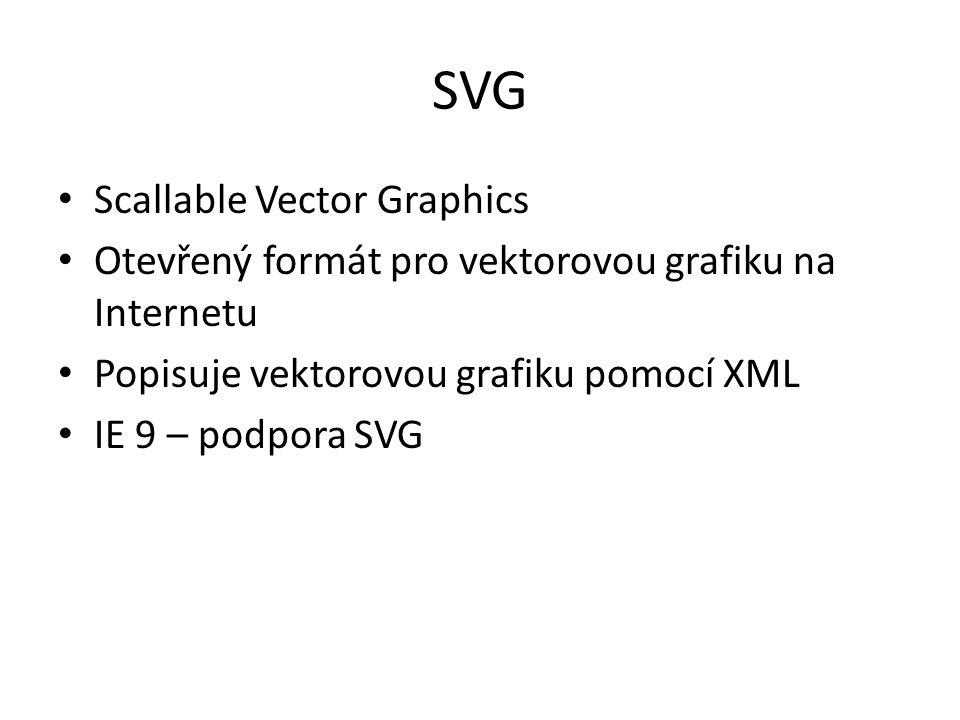 SVG Scallable Vector Graphics Otevřený formát pro vektorovou grafiku na Internetu Popisuje vektorovou grafiku pomocí XML IE 9 – podpora SVG