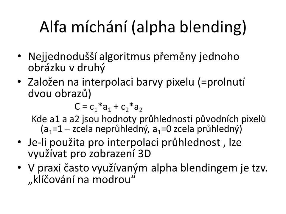 Alfa míchání (alpha blending) Nejjednodušší algoritmus přeměny jednoho obrázku v druhý Založen na interpolaci barvy pixelu (=prolnutí dvou obrazů) C =