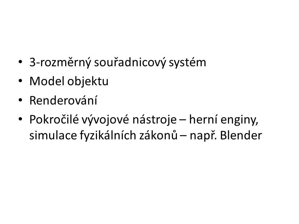 3-rozměrný souřadnicový systém Model objektu Renderování Pokročilé vývojové nástroje – herní enginy, simulace fyzikálních zákonů – např. Blender