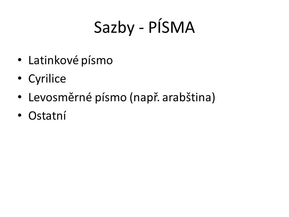 Sazby - PÍSMA Latinkové písmo Cyrilice Levosměrné písmo (např. arabština) Ostatní