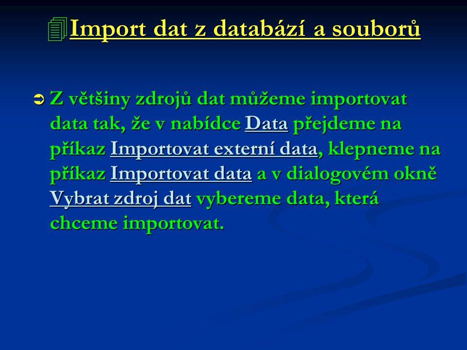  Import dat z databází a souborů  Z většiny zdrojů dat můžeme importovat data tak, že v nabídce Data přejdeme na příkaz Importovat externí data, kle
