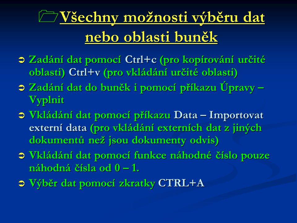  Všechny možnosti výběru dat nebo oblasti buněk  Zadání dat pomocí Ctrl+c (pro kopírování určité oblasti) Ctrl+v (pro vkládání určité oblasti)  Zad