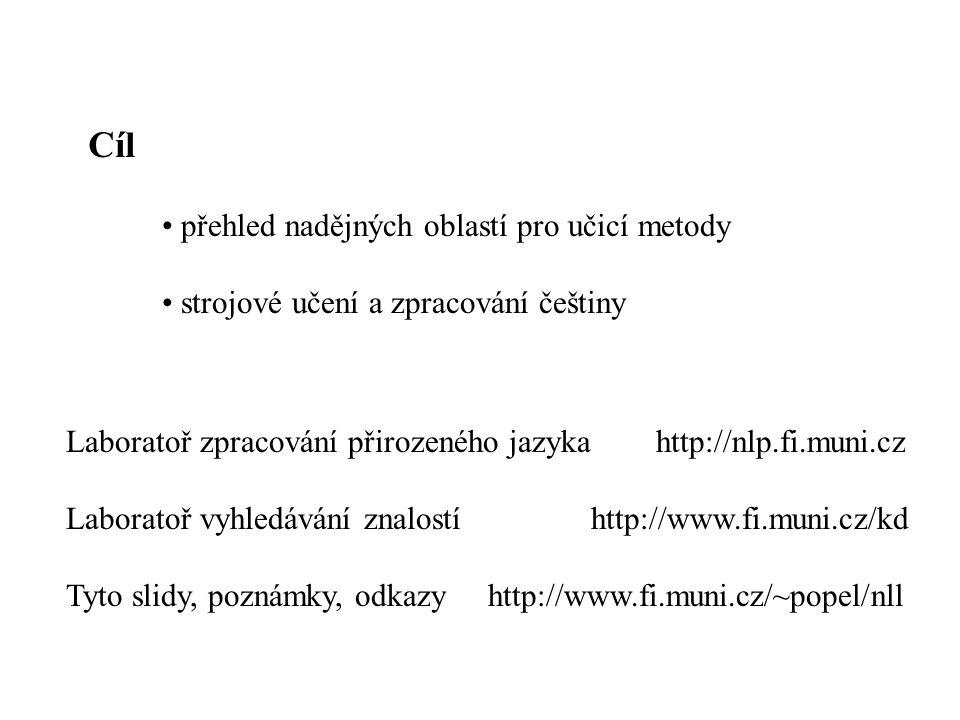 Cíl přehled nadějných oblastí pro učicí metody strojové učení a zpracování češtiny Laboratoř zpracování přirozeného jazyka http://nlp.fi.muni.cz Labor