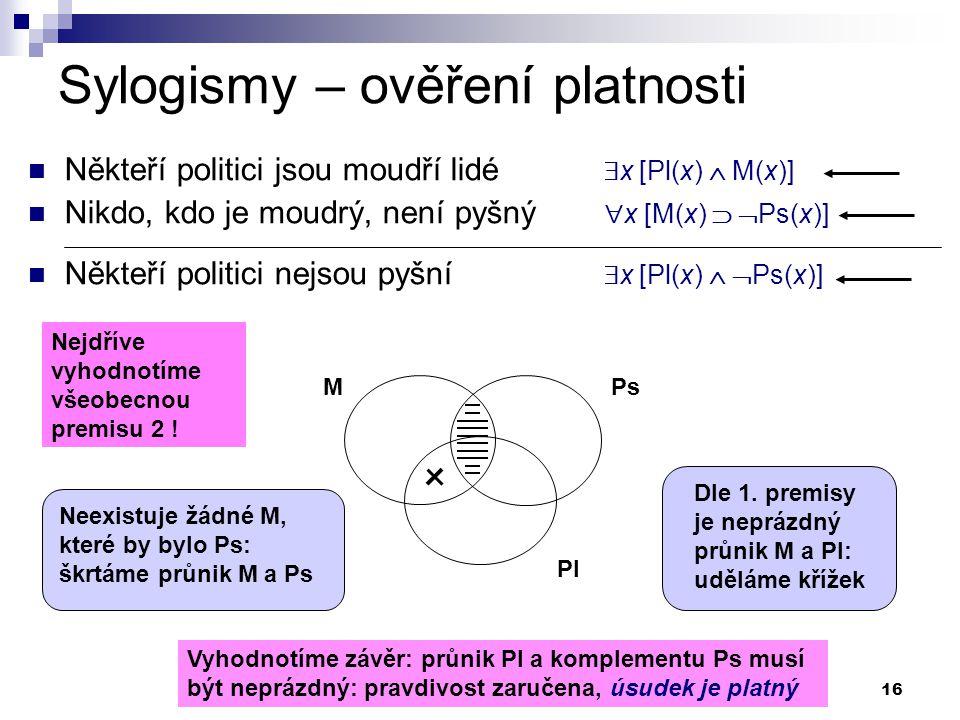 16 Sylogismy – ověření platnosti Někteří politici jsou moudří lidé  x [Pl(x)  M(x)] Nikdo, kdo je moudrý, není pyšný  x [M(x)   Ps(x)] Někteří po