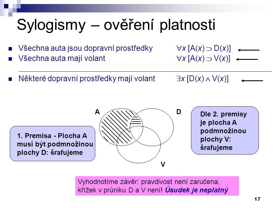 17 Sylogismy – ověření platnosti Všechna auta jsou dopravní prostředky  x [A(x)  D(x)] Všechna auta mají volant  x [A(x)  V(x)] Některé dopravní p