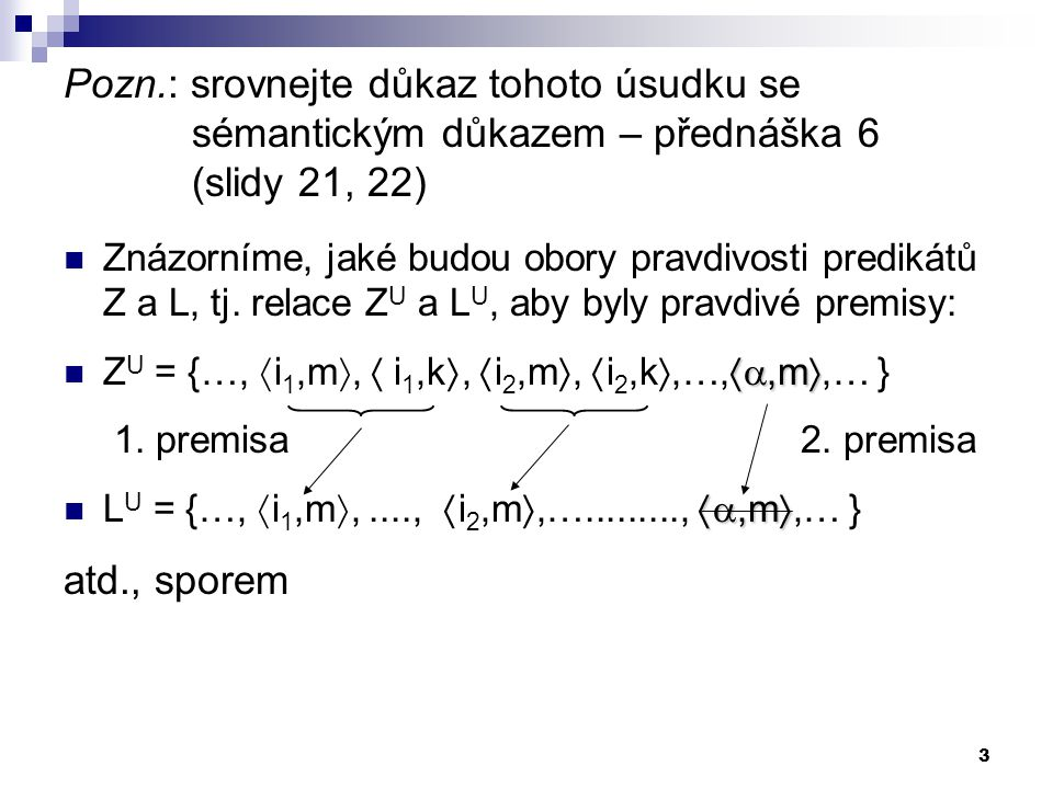 4 Dokazování platnosti úsudku sporem: Využíváme toho, že pro uzavřené formule platí ekvivalence: P 1,...,P n |= Z iff|= (P 1 ...