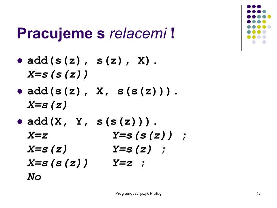 Programovací jazyk Prolog15 Pracujeme s relacemi ! add(s(z), s(z), X). X=s(s(z)) add(s(z), X, s(s(z))). X=s(z) add(X, Y, s(s(z))). X=zY=s(s(z)) ; X=s(