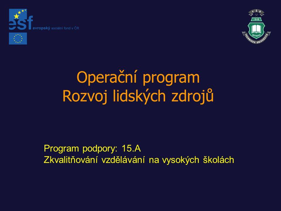 Operační program Rozvoj lidských zdrojů Program podpory: 15.A Zkvalitňování vzdělávání na vysokých školách