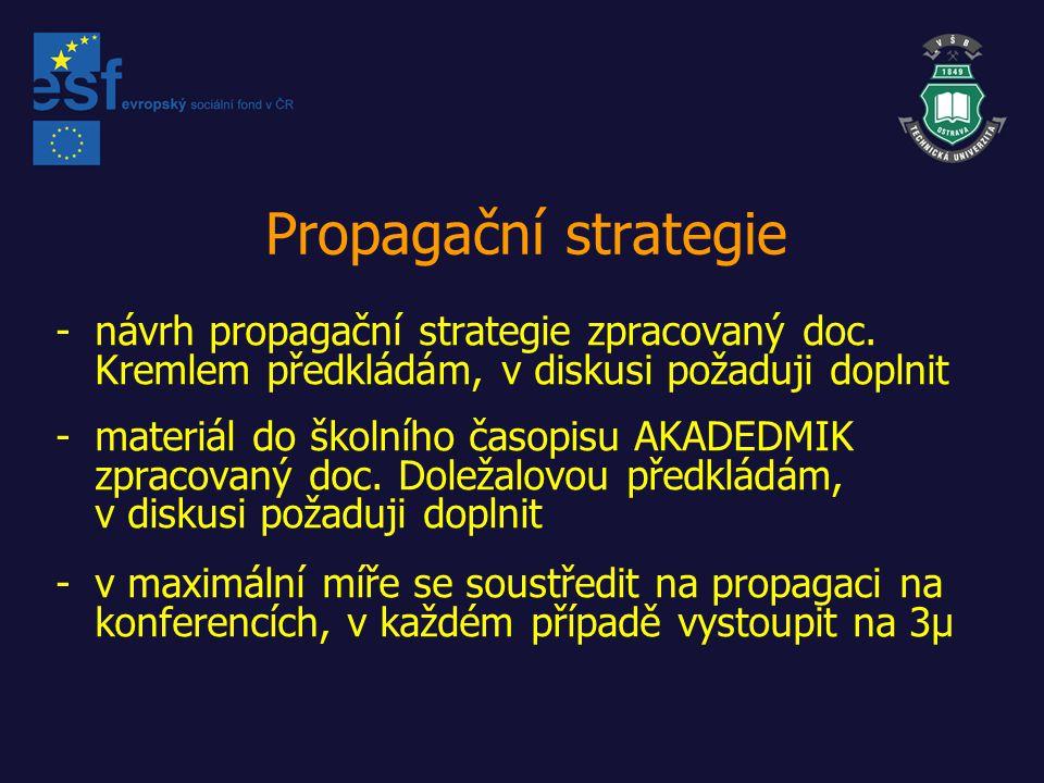 Propagační strategie -návrh propagační strategie zpracovaný doc.