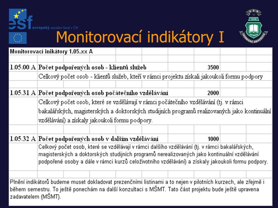 Monitorovací indikátory II Výklad pojmů Jedná se o osoby, které jsou podpořeny nikoli proto, aby zlepšily své postavení na trhu práce, ale aby zlepšily kvalitu poskytovaných služeb, rozšířily jejich spektrum a zajistily zvýšení jejich objemu.
