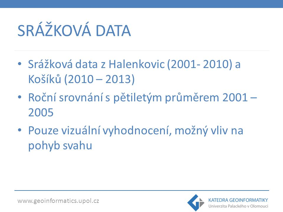 SRÁŽKOVÁ DATA Srážková data z Halenkovic (2001- 2010) a Košíků (2010 – 2013) Roční srovnání s pětiletým průměrem 2001 – 2005 Pouze vizuální vyhodnocení, možný vliv na pohyb svahu