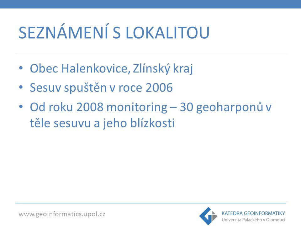 www.geoinformatics.upol.cz SEZNÁMENÍ S LOKALITOU Obec Halenkovice, Zlínský kraj Sesuv spuštěn v roce 2006 Od roku 2008 monitoring – 30 geoharponů v těle sesuvu a jeho blízkosti