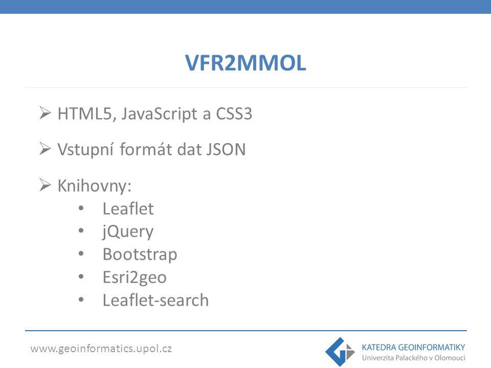 www.geoinformatics.upol.cz VFR2MMOL  HTML5, JavaScript a CSS3  Vstupní formát dat JSON  Knihovny: Leaflet jQuery Bootstrap Esri2geo Leaflet-search