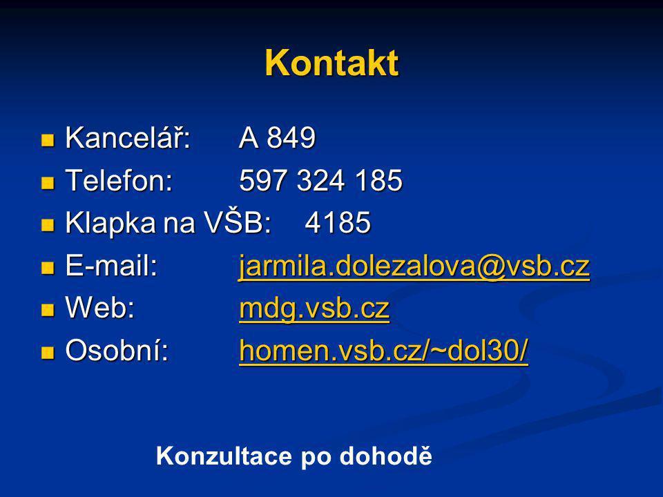 Kontakt Kancelář:A 849 Kancelář:A 849 Telefon:597 324 185 Telefon:597 324 185 Klapka na VŠB:4185 Klapka na VŠB:4185 E-mail:jarmila.dolezalova@vsb.cz E-mail:jarmila.dolezalova@vsb.czjarmila.dolezalova@vsb.cz Web:mdg.vsb.cz Web:mdg.vsb.czmdg.vsb.cz Osobní:homen.vsb.cz/~dol30/ Osobní:homen.vsb.cz/~dol30/homen.vsb.cz/~dol30/ Konzultace po dohodě