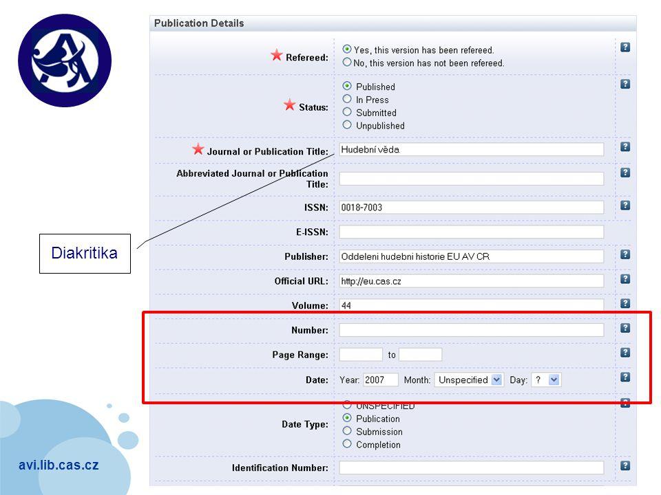 avi.lib.cas.cz Company LOGO Diakritika