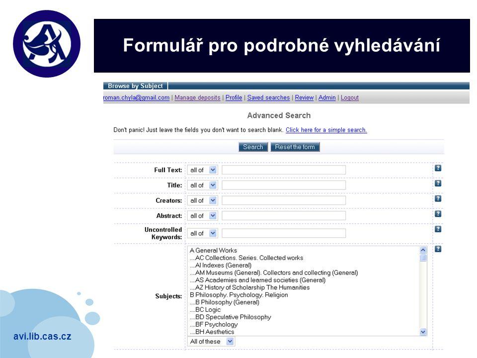 avi.lib.cas.cz Company LOGO Formulář pro podrobné vyhledávání