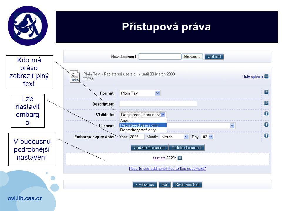avi.lib.cas.cz Company LOGO Přístupová práva Kdo má právo zobrazit plný text Lze nastavit embarg o V budoucnu podrobnější nastavení