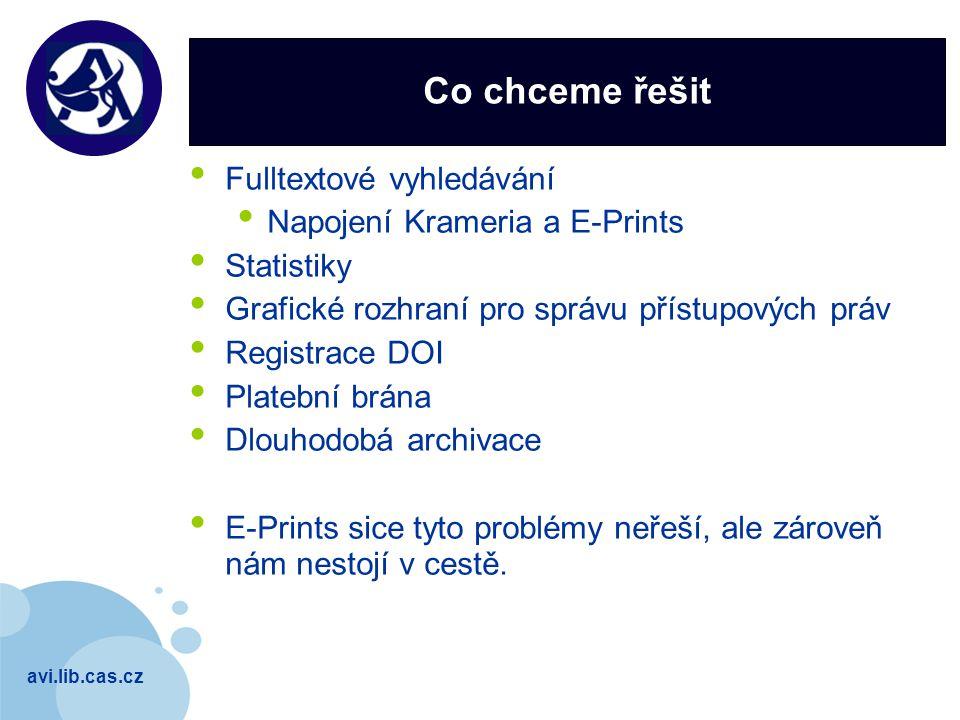 avi.lib.cas.cz Company LOGO Co chceme řešit Fulltextové vyhledávání Napojení Krameria a E-Prints Statistiky Grafické rozhraní pro správu přístupových