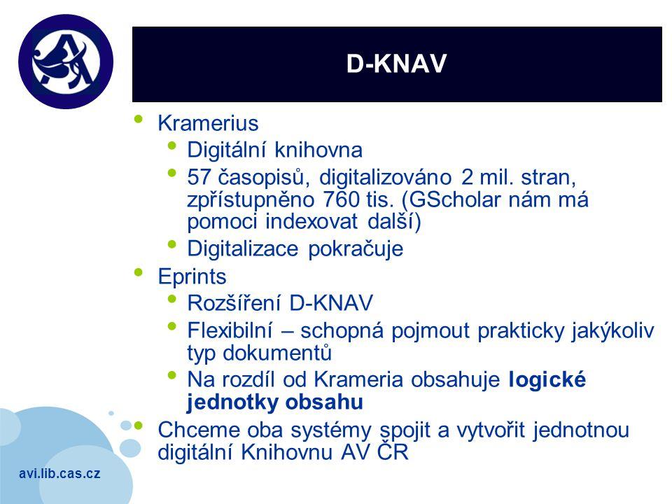 avi.lib.cas.cz Company LOGO D-KNAV Kramerius Digitální knihovna 57 časopisů, digitalizováno 2 mil. stran, zpřístupněno 760 tis. (GScholar nám má pomoc