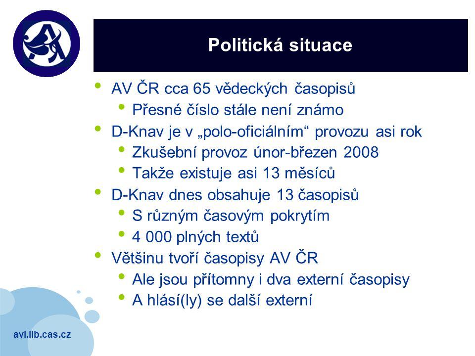 """avi.lib.cas.cz Company LOGO Politická situace AV ČR cca 65 vědeckých časopisů Přesné číslo stále není známo D-Knav je v """"polo-oficiálním"""" provozu asi"""
